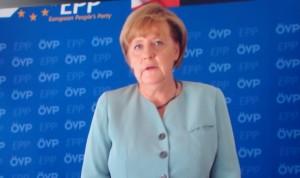 Die Wahlsiegerin Angela Merkel übermittelte eine aufbauende Videobotschaft