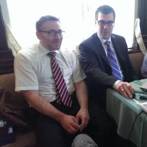 Mag. Steinkellner (BH Amstetten ) und Mag Krenhuber (BH Scheibbs) in einer kurzen Verhandlungspause