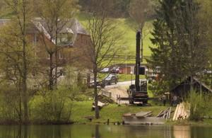 Blick zum Wasserkluster, wo Sanierungsarbeiten am Steg bzw. der Bootshütte laufen. Mehr drüber morgen!