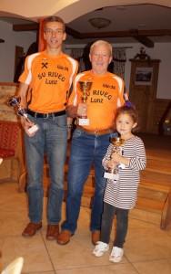 die Sieger des Zeitschätzbewerbes - SeppGeschwandegger (2 Sek Differenz), Heinz Prokesch (6 sek) und Carolin Seis (9 Sek) - herzliche Gratulation