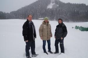 Besichtigung der Loipe für den Eisenstraßenlanglaufcup durch Tourismusobmann Hans Mayr, WSV Chef Harald Fallmann und Sportwart Martin Simetzberger