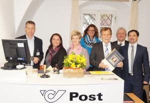 Trainer Richard Preiler, Elfriede Nachbargauer und Marita Teufel (Gemeindemitarbeiterinnen - Postpartner) Verkaufsleiterin Sonja Dallhammer,  Alois Wühl (Change Management Ost), und Verkaufsleiter Manfred Reithofer freuen sich über den neuen Postpartner!